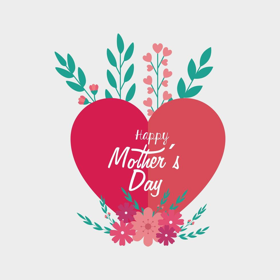 glückliche Muttertagskarte mit Herz- und Blumendekoration vektor
