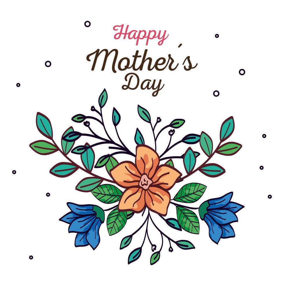 glückliche Muttertagskarte mit Blumen- und Blattdekoration vektor