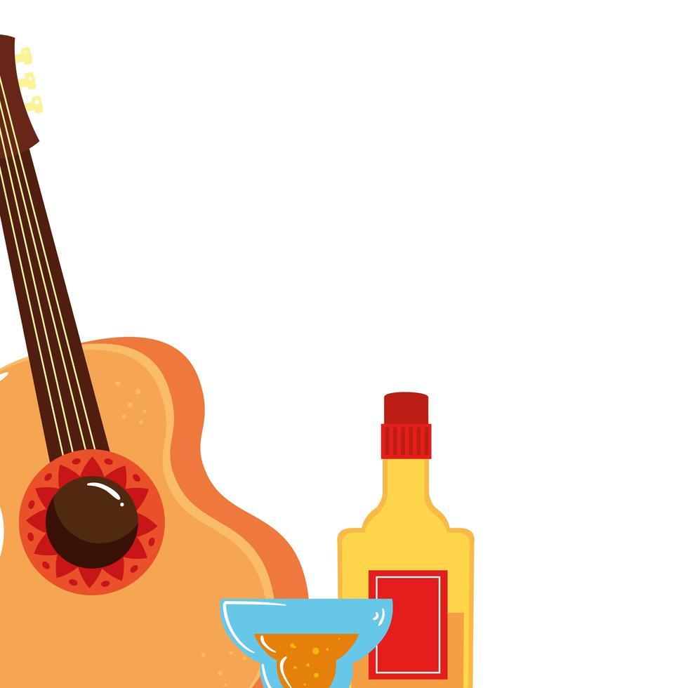 isolerad mexikansk gitarr tequila flaska och cocktail vektor design