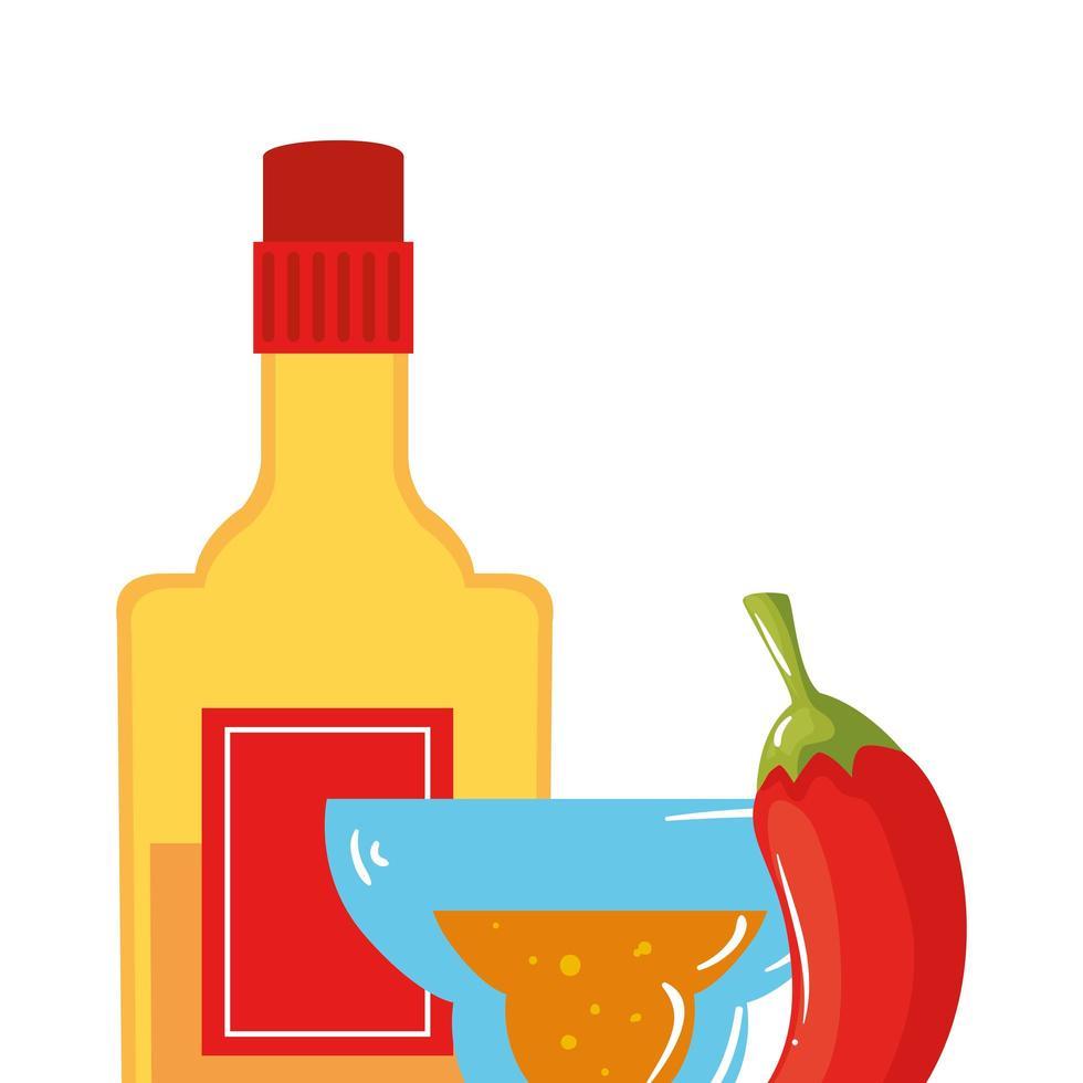 isolerad mexikansk tequila flaska chili och cocktail vektor design