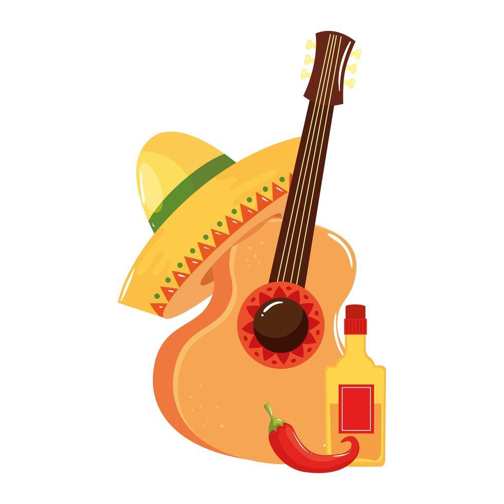 isolerad mexikansk gitarr tequila flaska chili och hatt vektor design