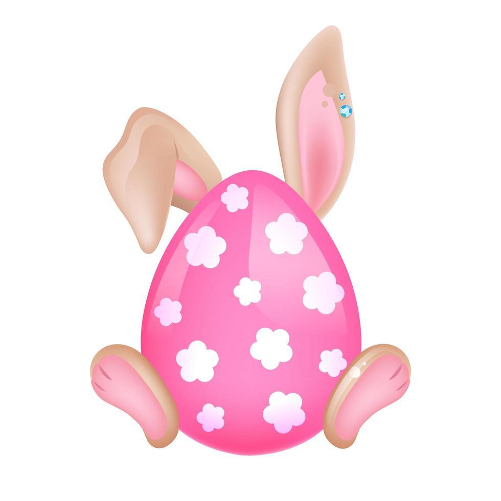 söt påskkanin gömd bakom rosa ägg kawaii tecknad vektor karaktär