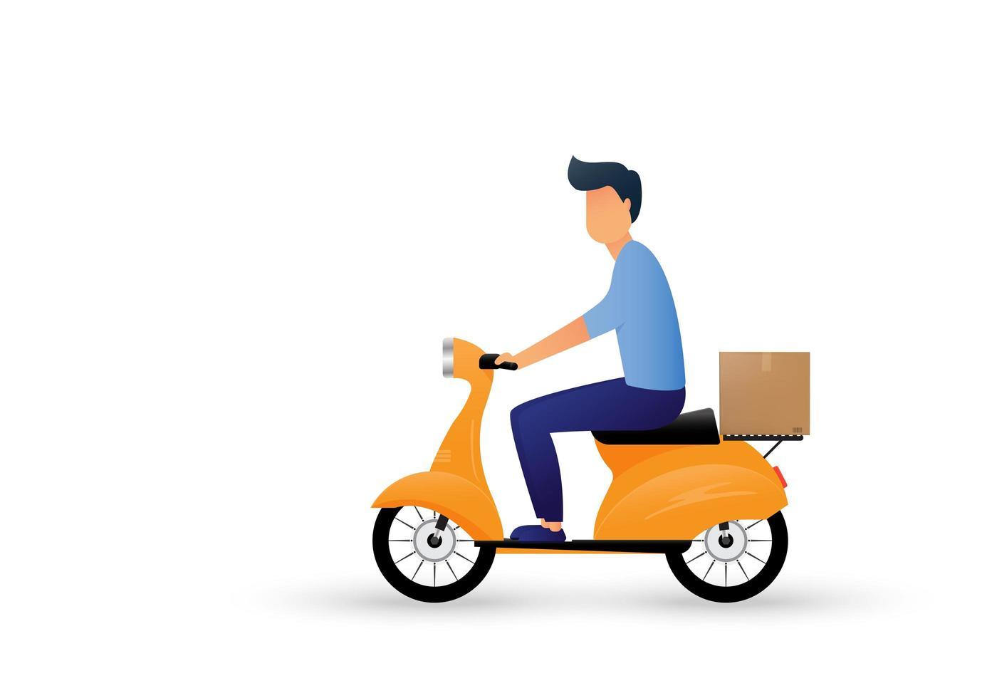leverans man rider en motorcykel tecknad. expressleverans. vektor