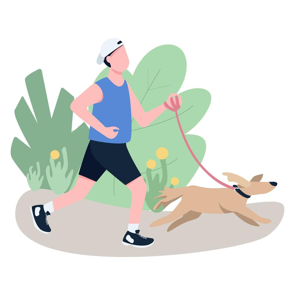 joggare med hund platt färg vektor ansiktslös karaktär
