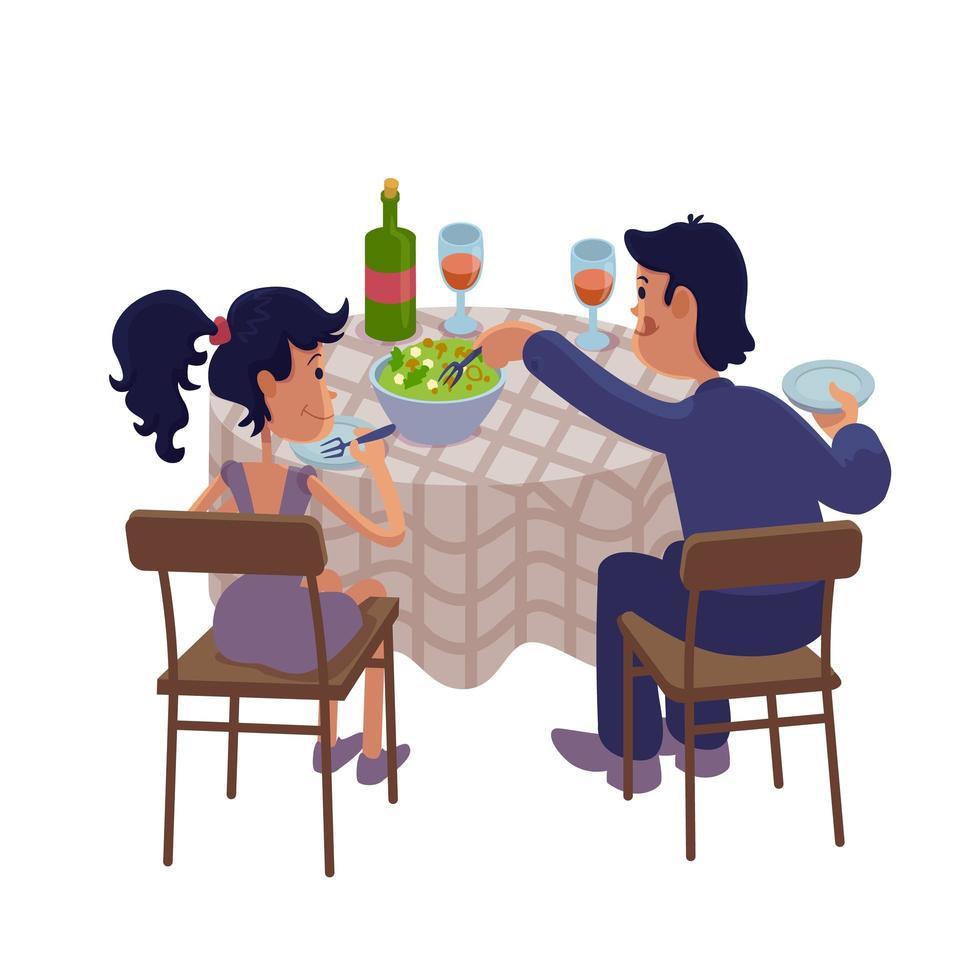 Ehemann und Ehefrau beim Abendessen zusammen flache Karikaturvektorillustration vektor