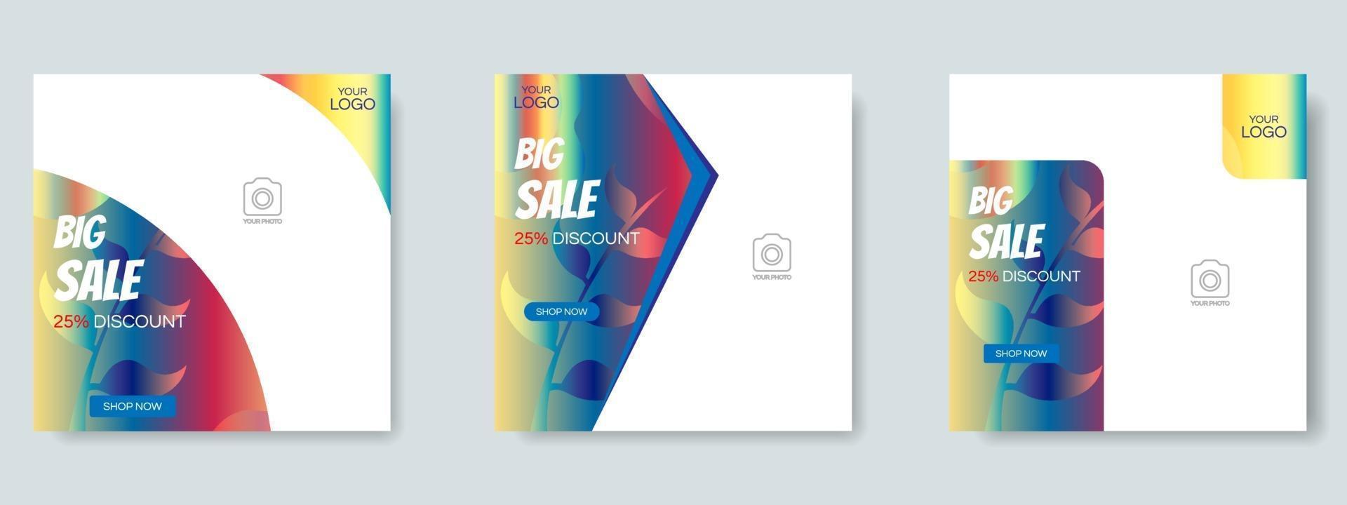 mode försäljning sociala medier post designmall. webb banner vektor