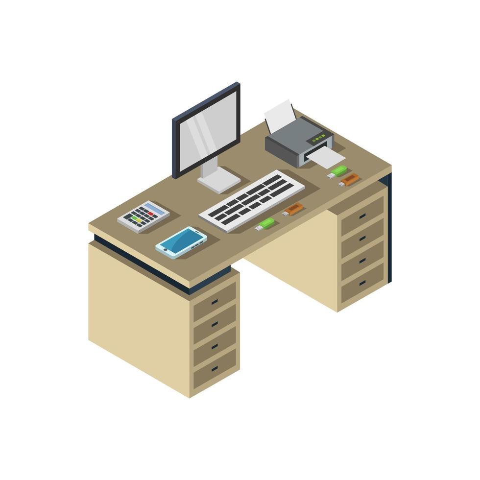 isometrischer Schreibtisch auf weißem Hintergrund vektor