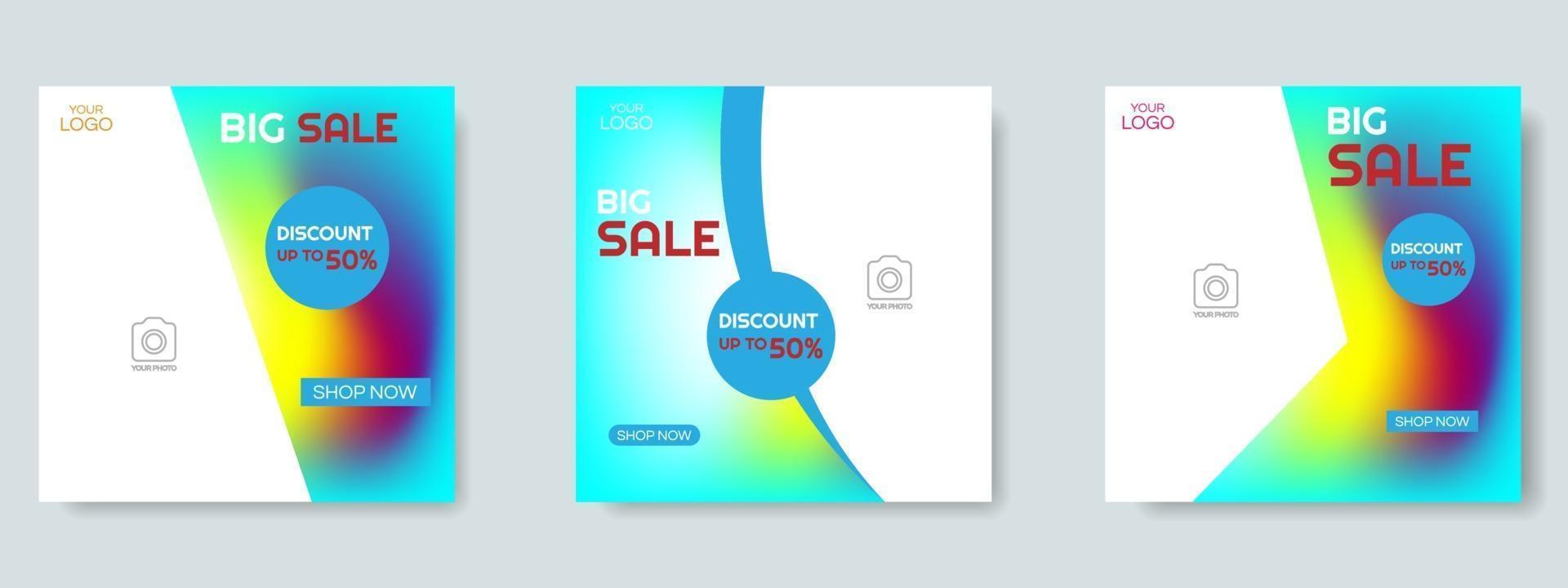 Modeverkauf Social Media Post Design Vorlage. Web-Banner-Vektor vektor