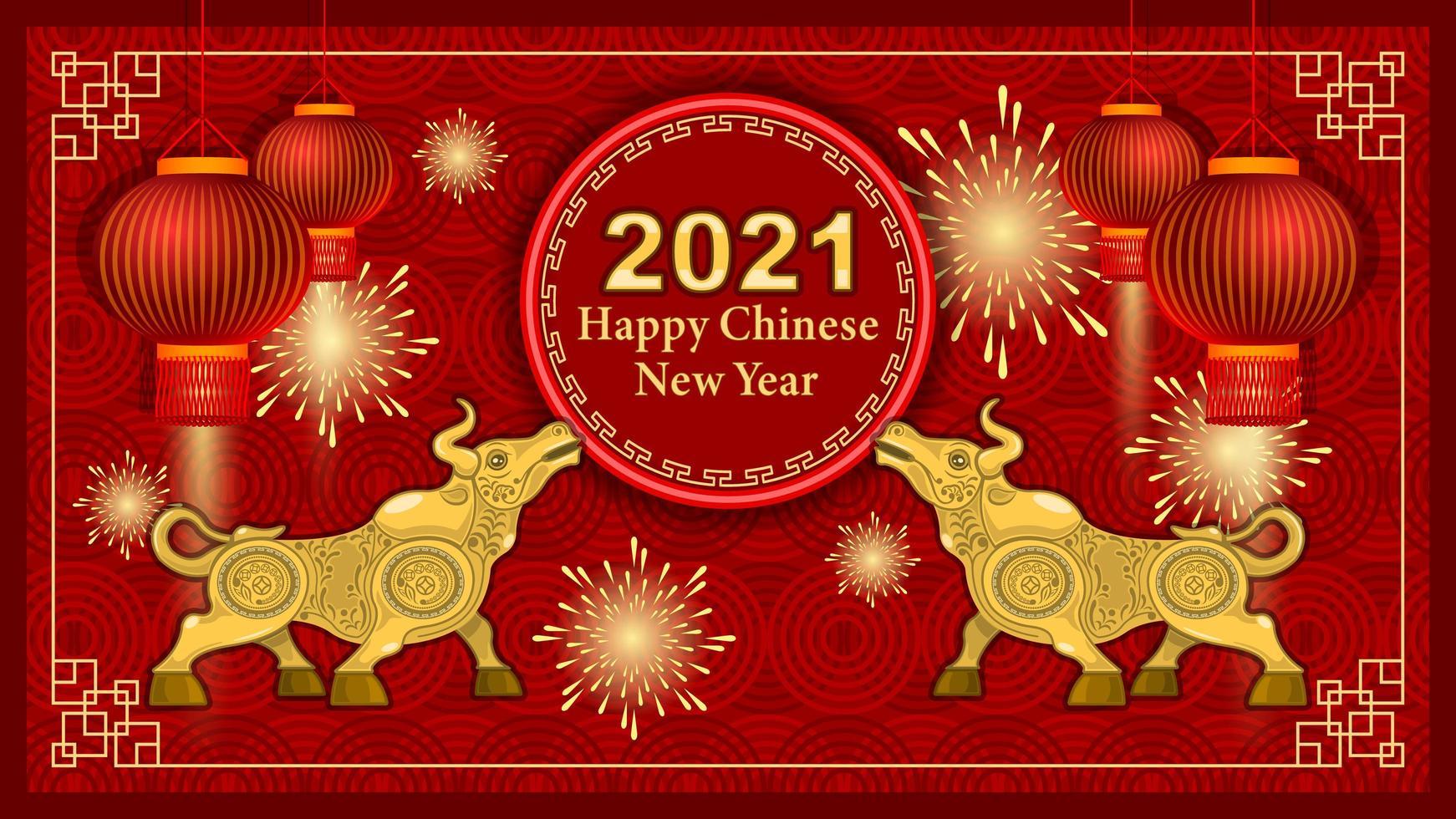 2021 metallguldtjur och dekorationselement på röd bakgrund vektor