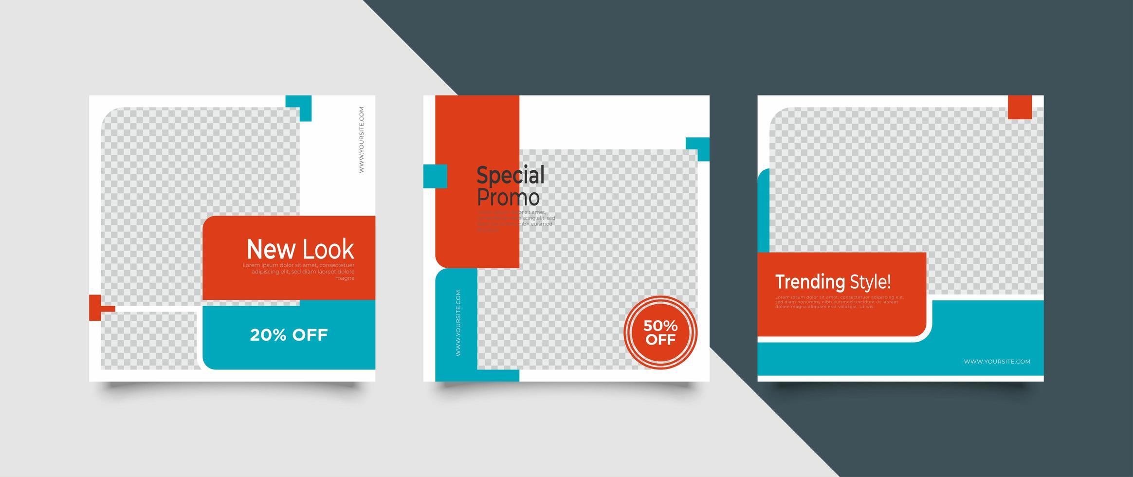 modern reklam mall för sociala medier vektor