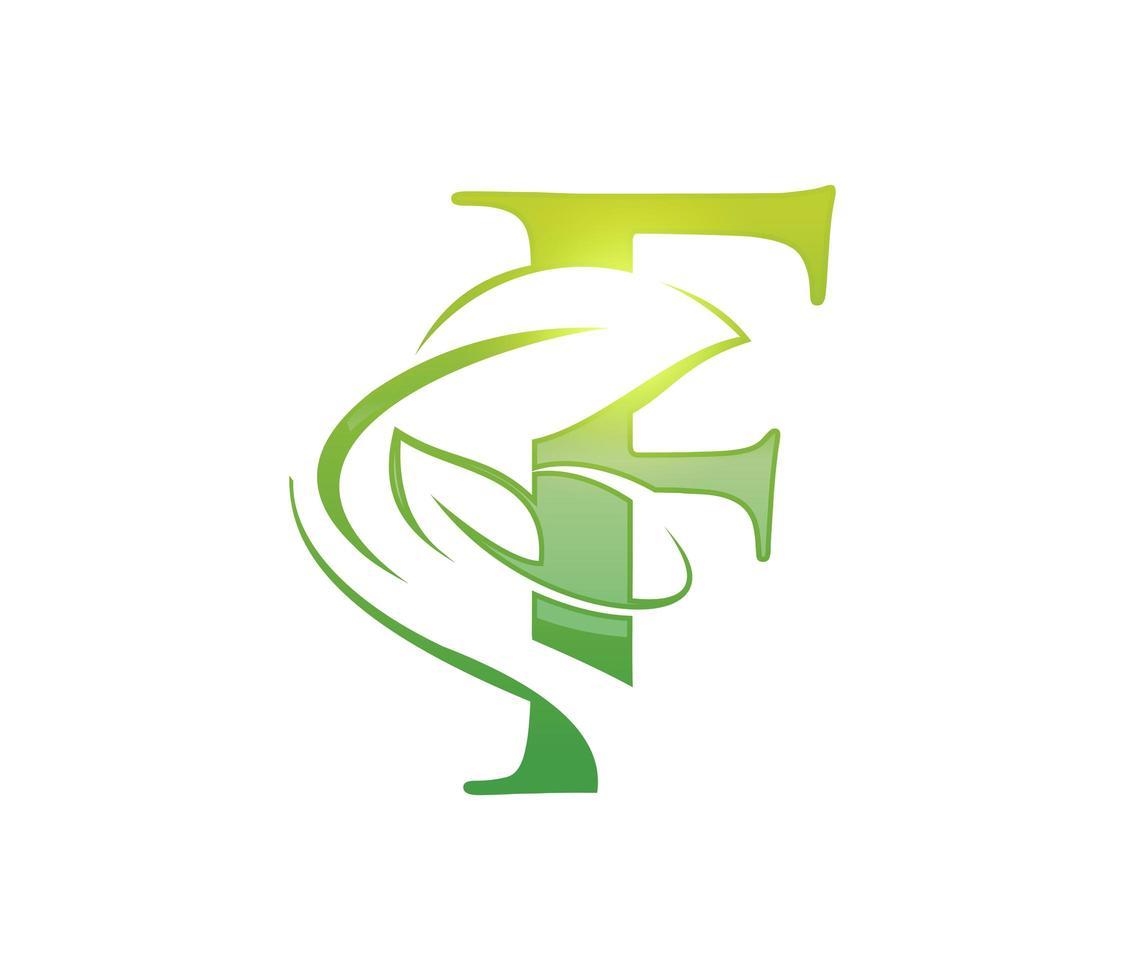 blad monogram initial bokstav f vektor