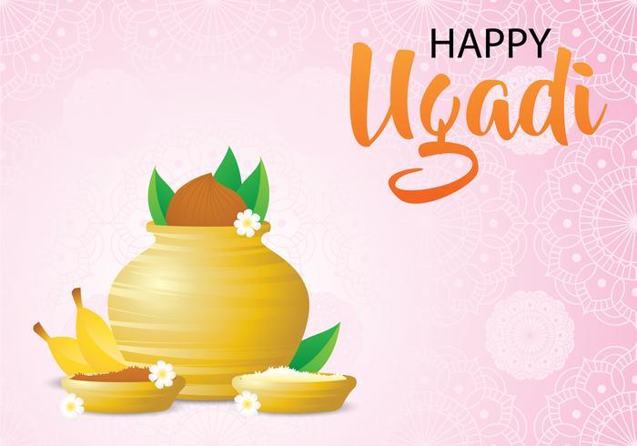 Nuvarande dag med Ugadi bakgrund vektor