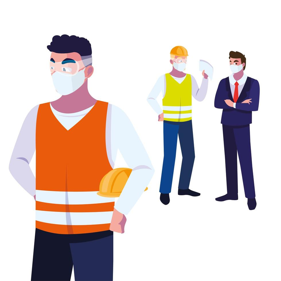 Industrieunternehmen, die bei der Arbeit Gesichtsmasken tragen vektor