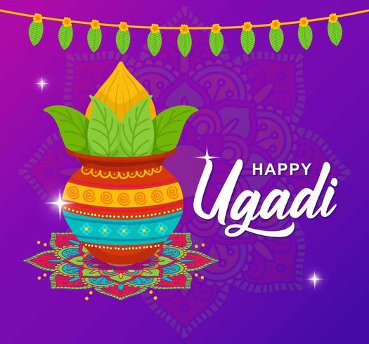 Glückliche Ugadi-Gruß-Karte vektor
