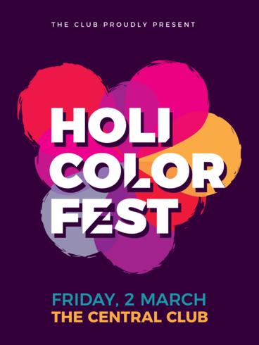 Holi festivalaffisch vektor
