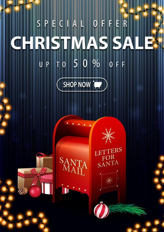 specialerbjudande, julförsäljning, upp till 50 rabatt, vertikal mörk och blå rabattbanner med santa brevlåda med presenter vektor
