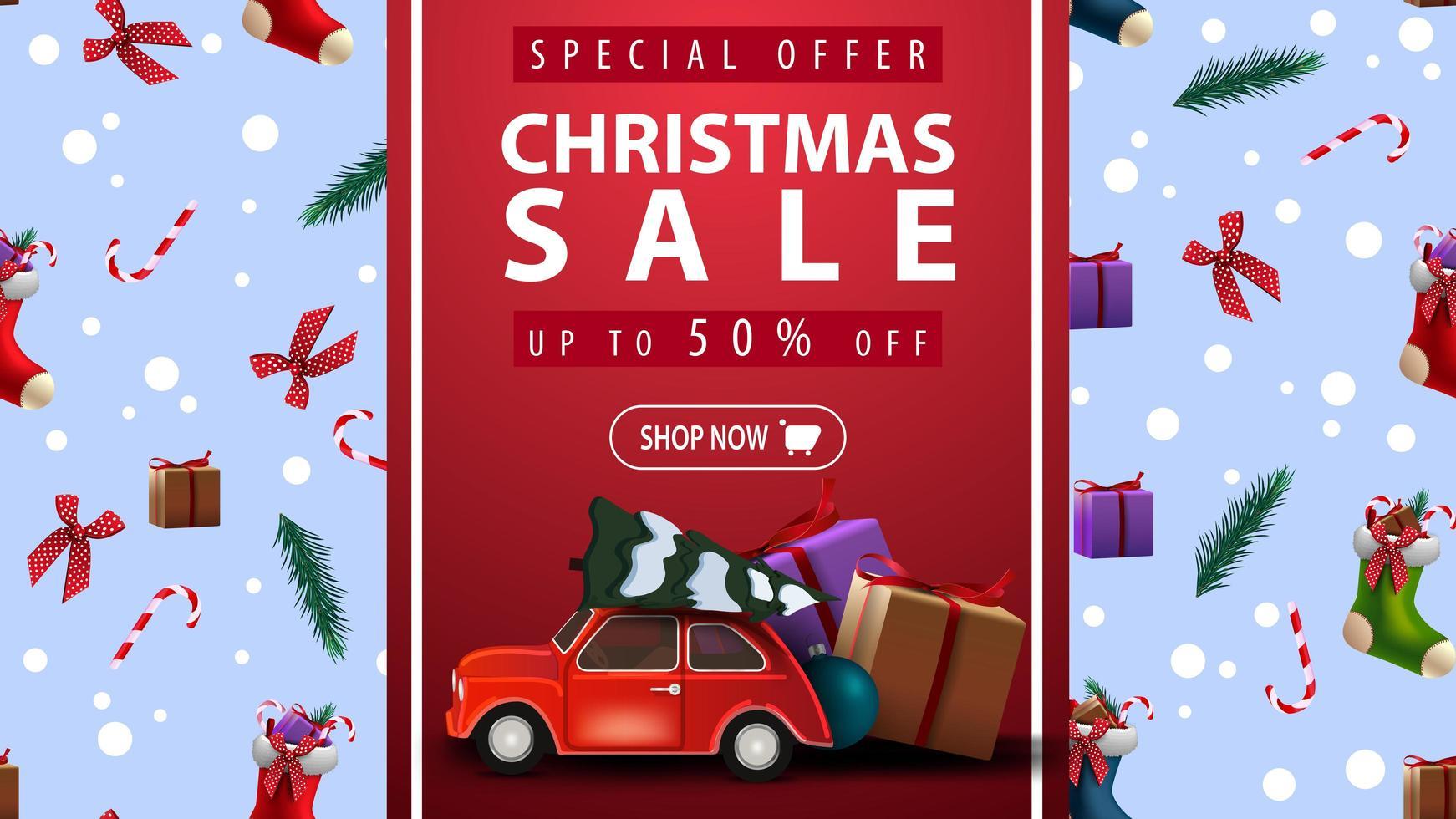 Sonderangebot, Weihnachtsverkauf, bis zu 50 Rabatt, schöne Rabatt-Banner mit rotem vertikalen Band, Weihnachtsbeschaffenheit auf Hintergrund und rotem Oldtimer mit Weihnachtsbaum vektor