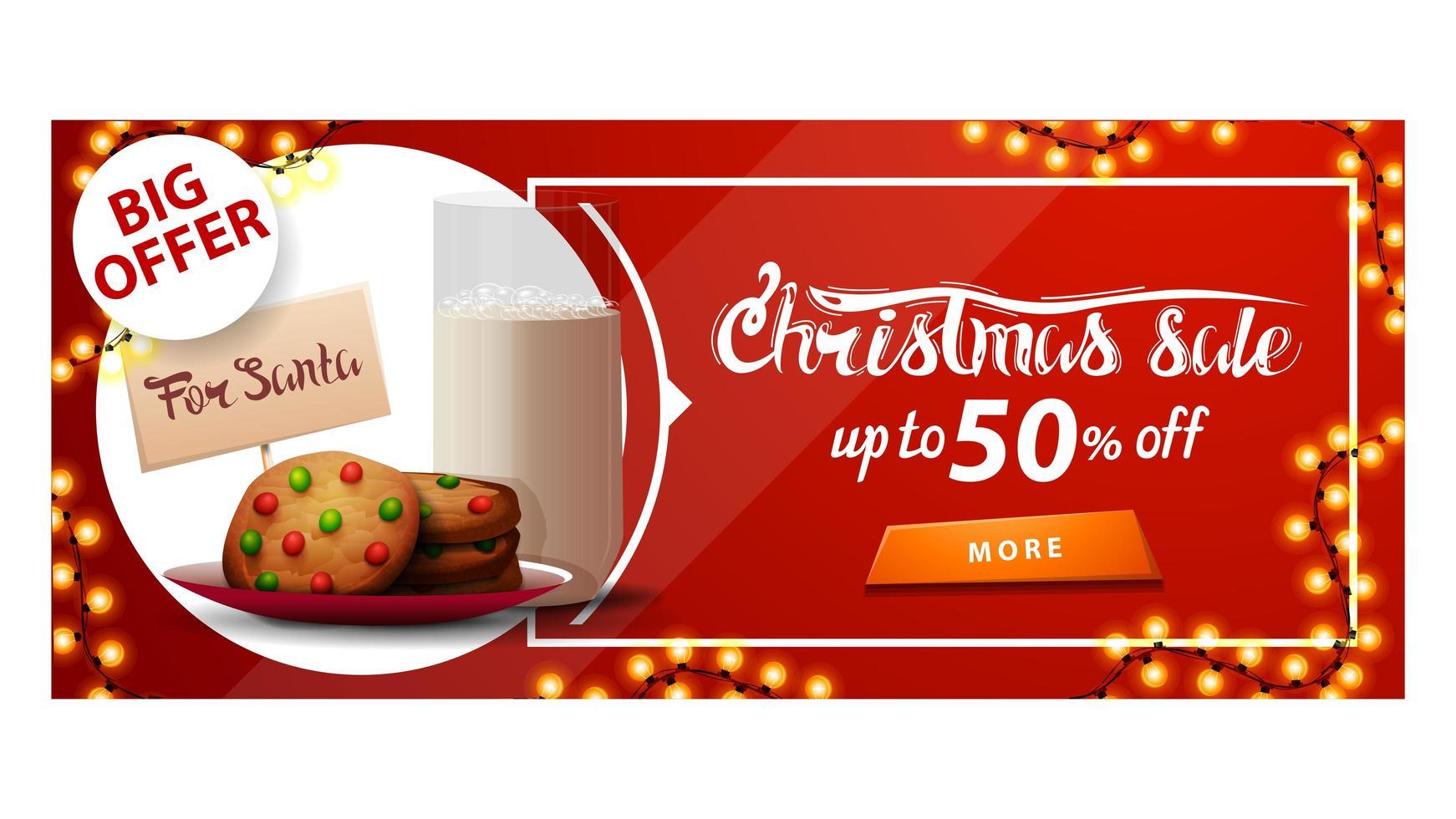 stort erbjudande, julförsäljning, upp till 50 rabatt, röd rabattbanner med krans, knapp och kakor med ett glas mjölk till jultomten vektor