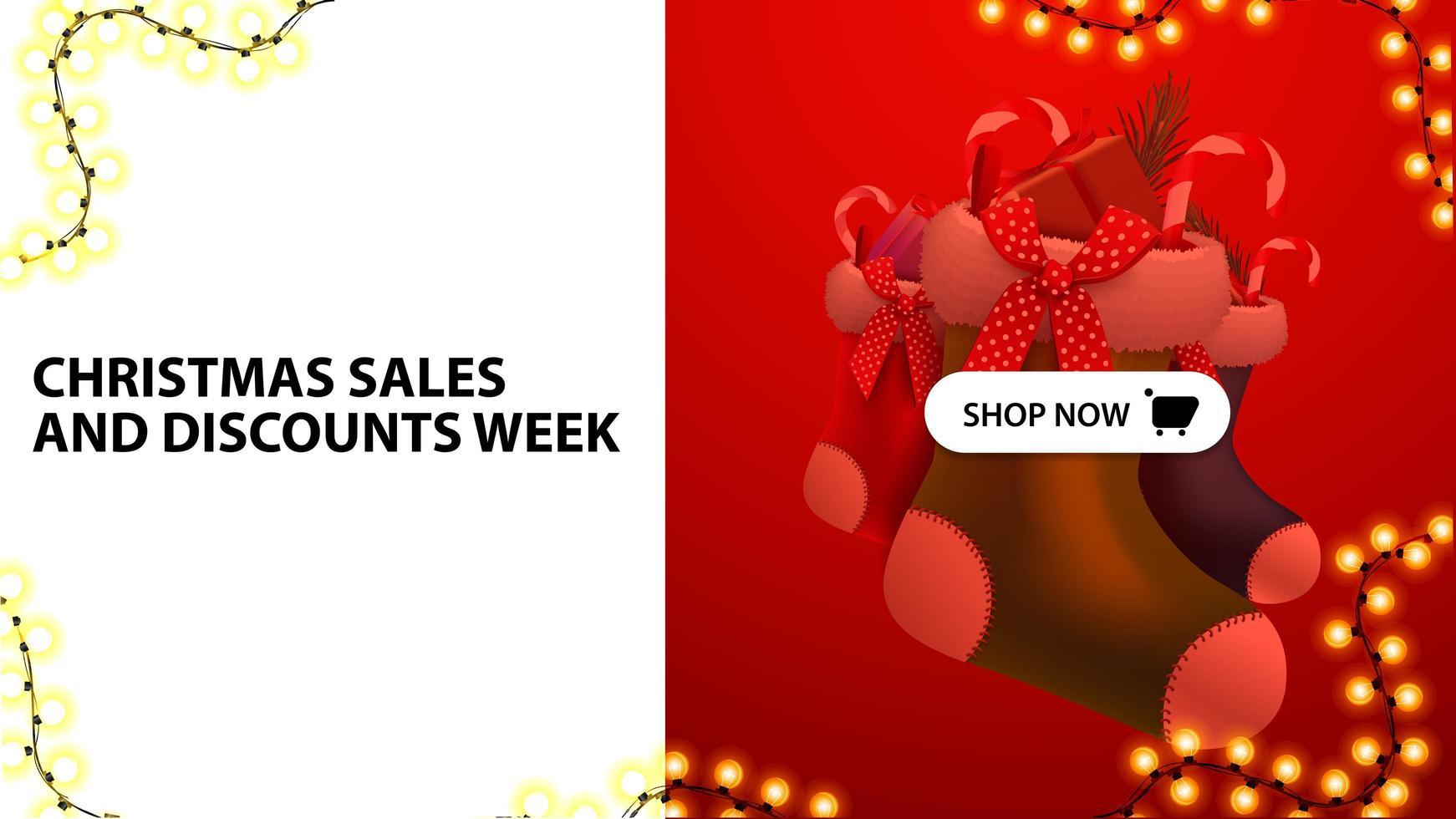 Weihnachtsverkäufe und Rabattwoche, weißes und rotes Rabattbanner mit Knopf und Weihnachtsstrümpfen vektor