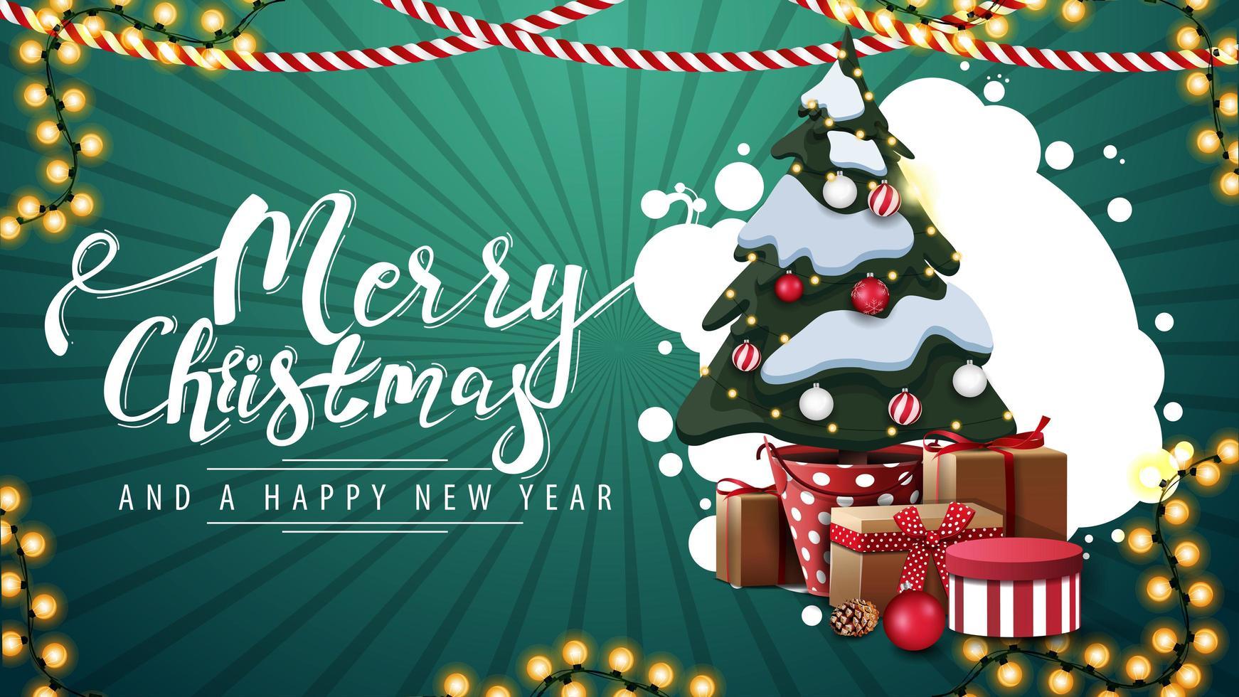 god jul och gott nytt år, grönt vykort med abstrakt moln av cirklar, kransar och julgran i en kruka med gåvor vektor