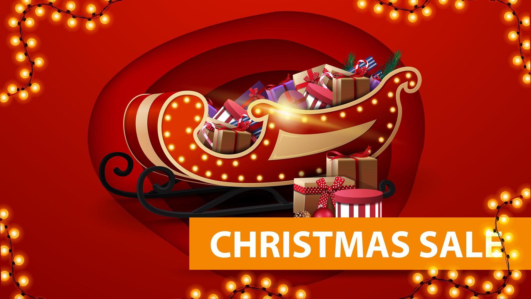 julförsäljning, röd rabattbanner i pappersskuren stil, krans och santa släde med presenter vektor