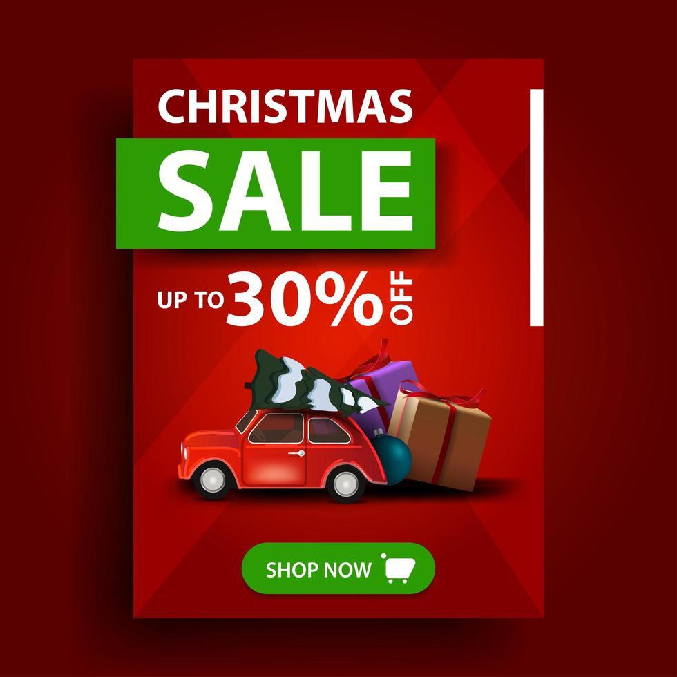 Weihnachtsverkauf, bis zu 30 Rabatt, rotes vertikales Rabattbanner mit Knopf und rotem Oldtimer mit Weihnachtsbaum vektor