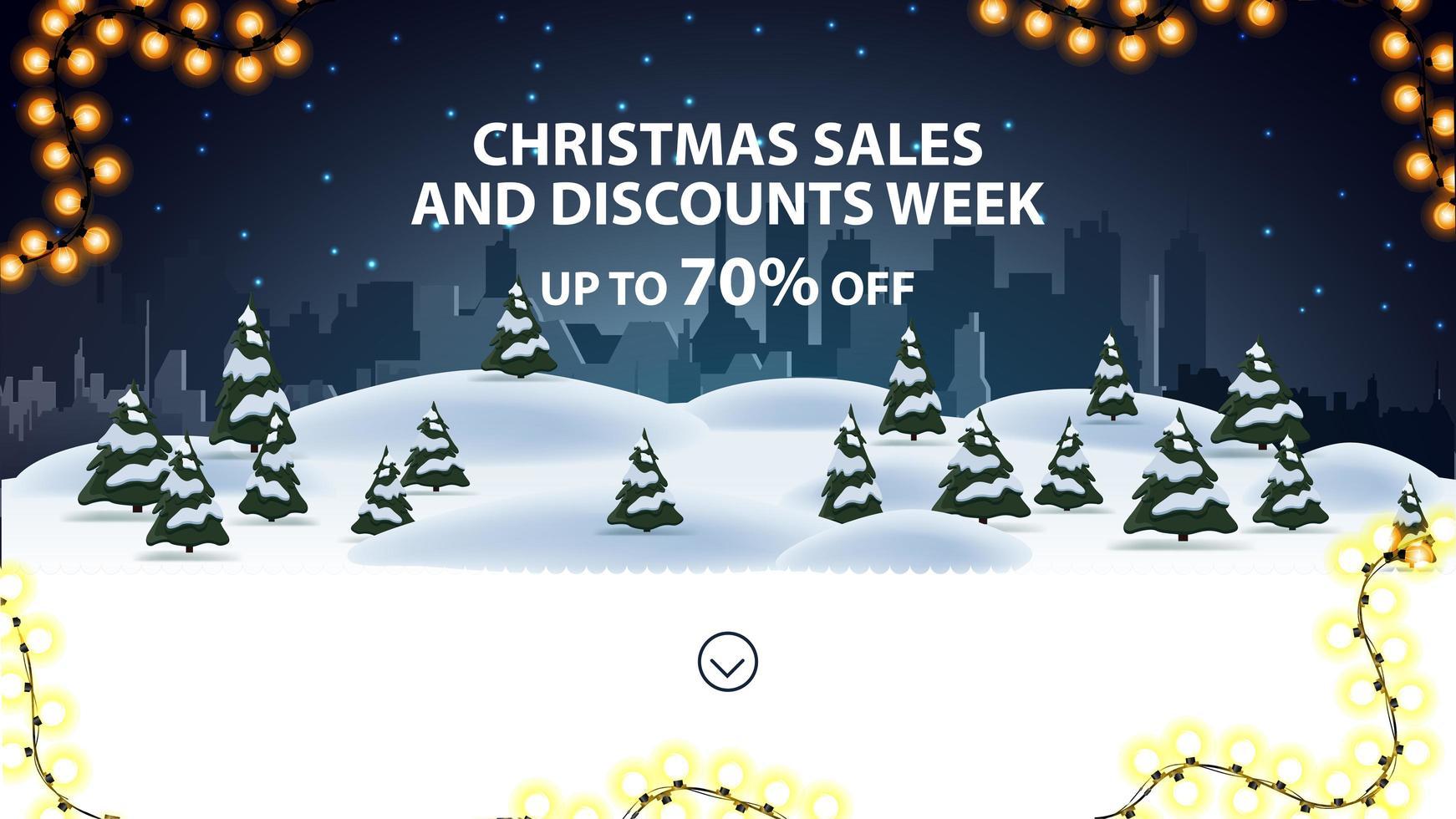Weihnachtsverkäufe und Rabatte Woche, bis zu 70 Rabatt, Rabatt Banner für Website mit Nacht Cartoon Winterlandschaft im Hintergrund vektor
