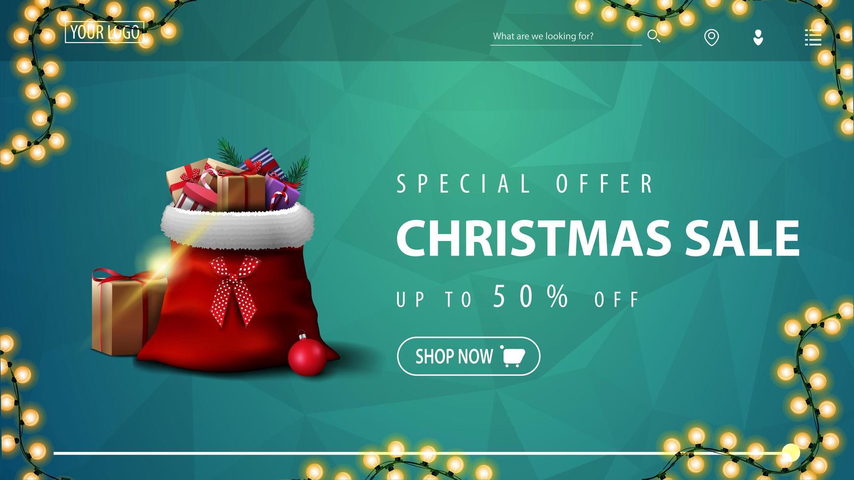specialerbjudande, julförsäljning, upp till 50 rabatt, blå rabattbanner för webbplats med polygonal konsistens, krans och jultomtepåse med presenter vektor