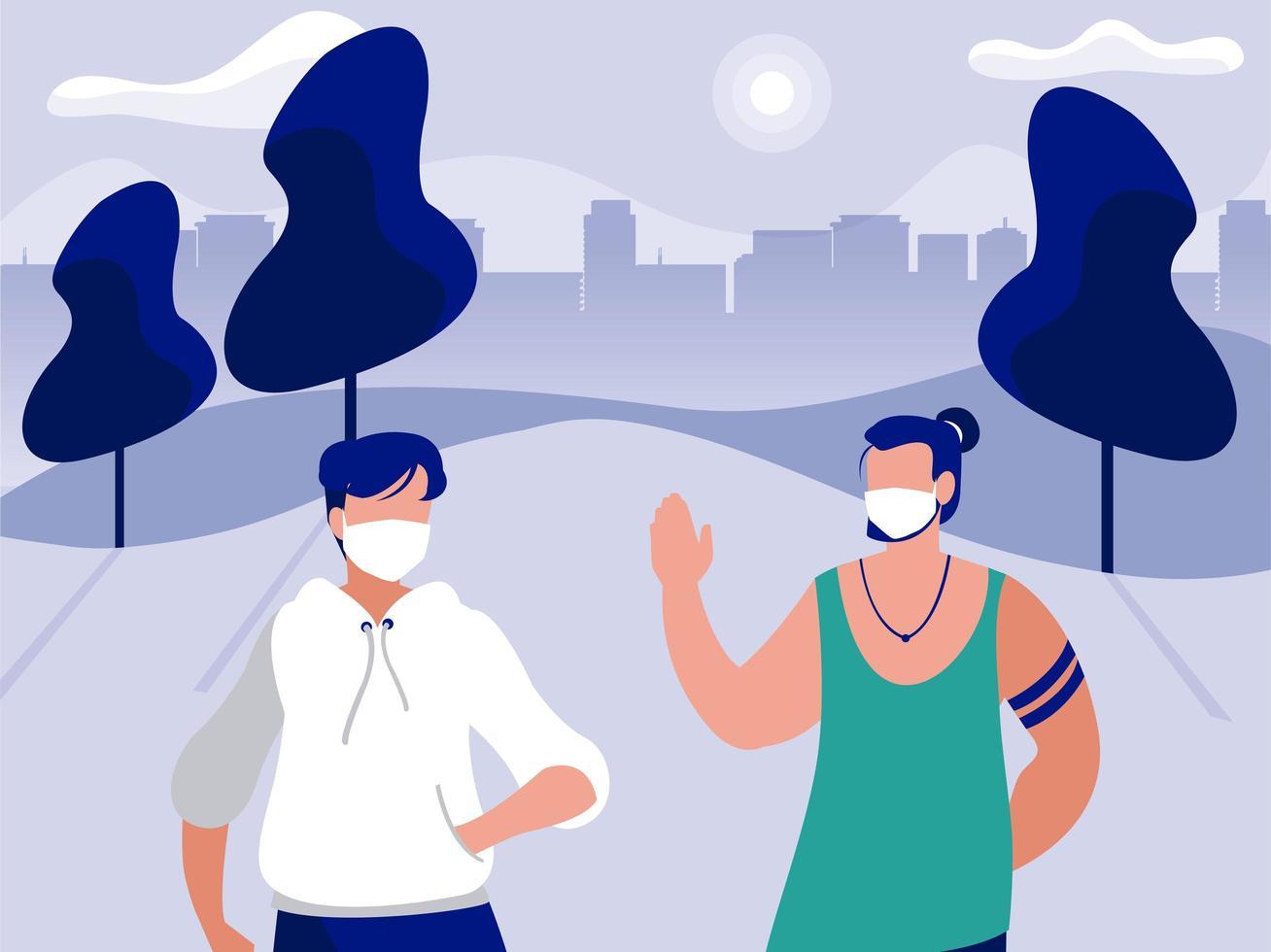 män med masker på parkerar framför stadsbyggnadens vektordesign vektor