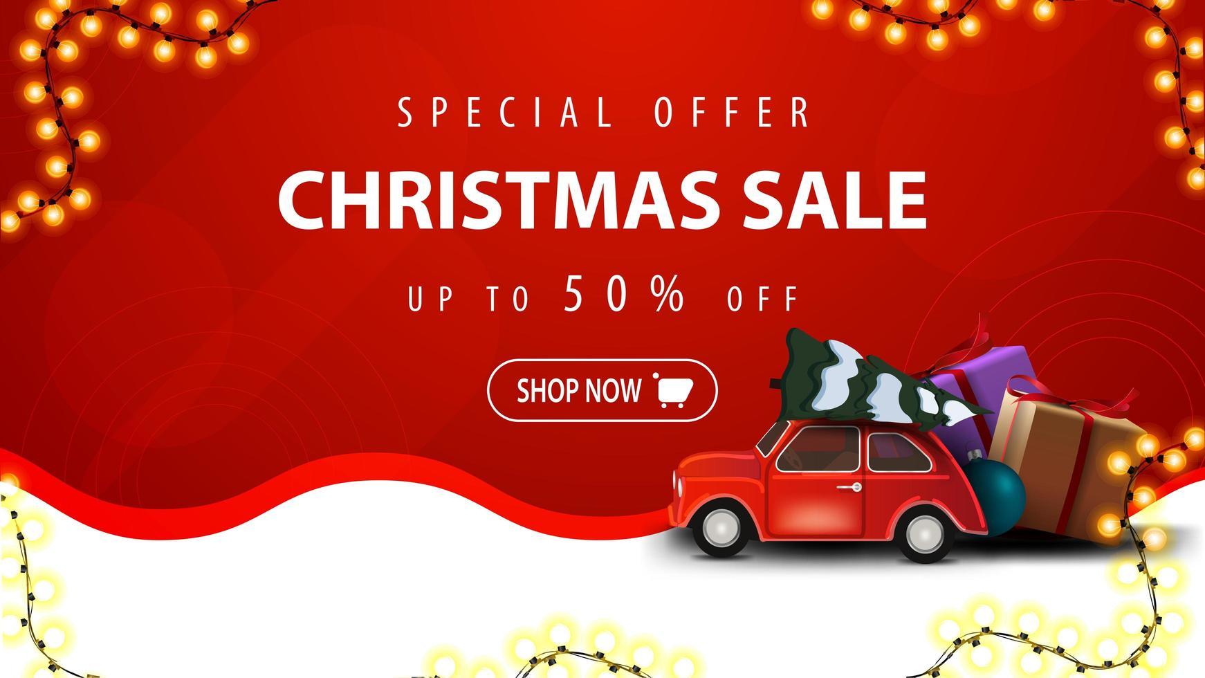 specialerbjudande, julförsäljning, upp till 50 rabatt, vit och röd rabattbanner med krans, vågig linje och röd veteranbil med julgran vektor