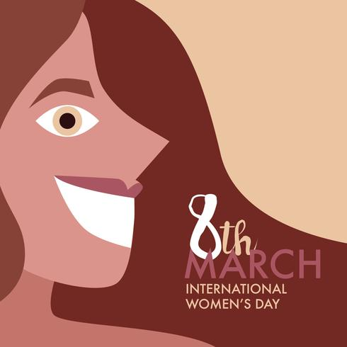 Super glad kvinna vill ha dig på den internationella kvinnodagen vektor