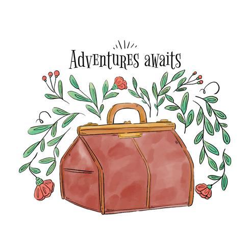 Weinlese-Koffer mit Blättern, Niederlassungen und Blumen vektor