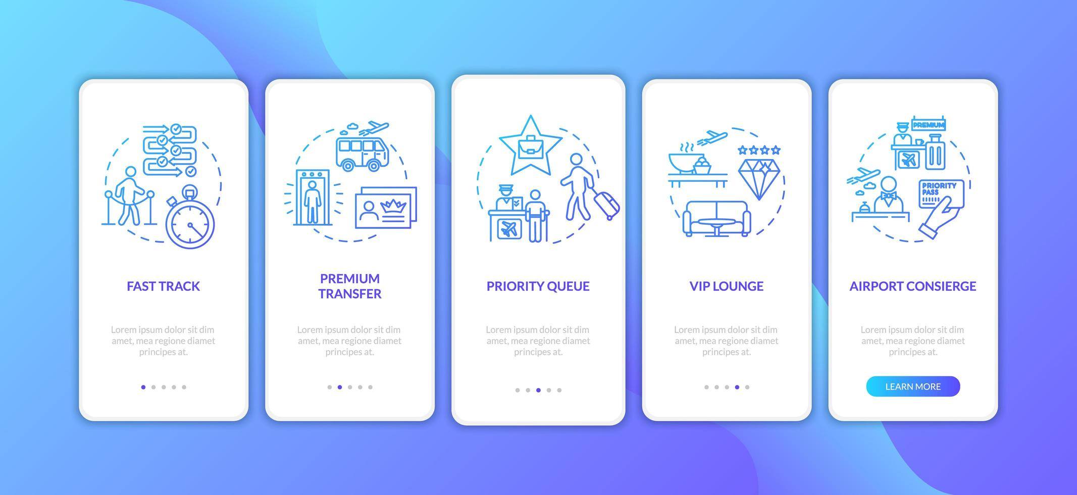 Flughafen Premium Service Onboarding Mobile App Seite Bildschirm mit Konzepten. vektor