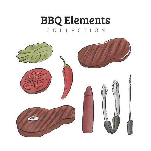Vattenfärg BBQ Elements Collection vektor