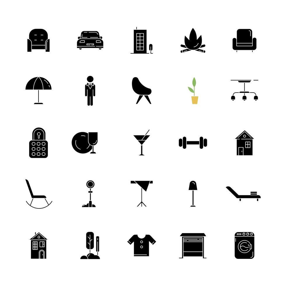 Apartment Annehmlichkeiten schwarze Glyphe Icons auf weißen Raum gesetzt vektor
