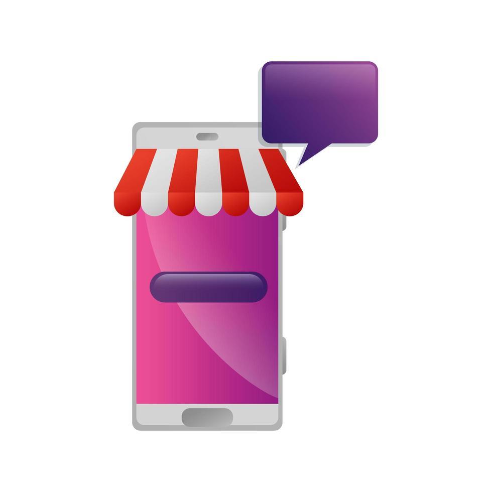 smartphone med parasoll och pratbubbla vektor