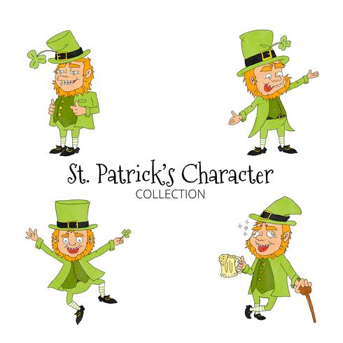 Nette Karikatur-St- Patrickcharaktersammlung vektor