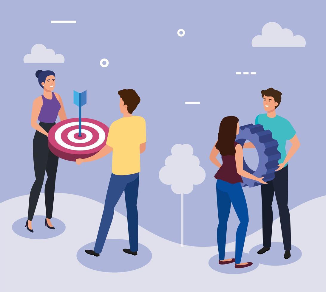 möte med affärsmän med mål och redskap vektor