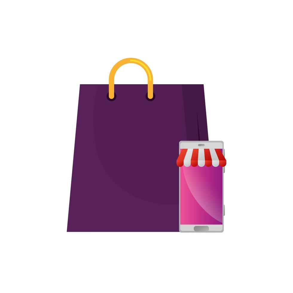 smartphone med parasoll och väska shopping vektor