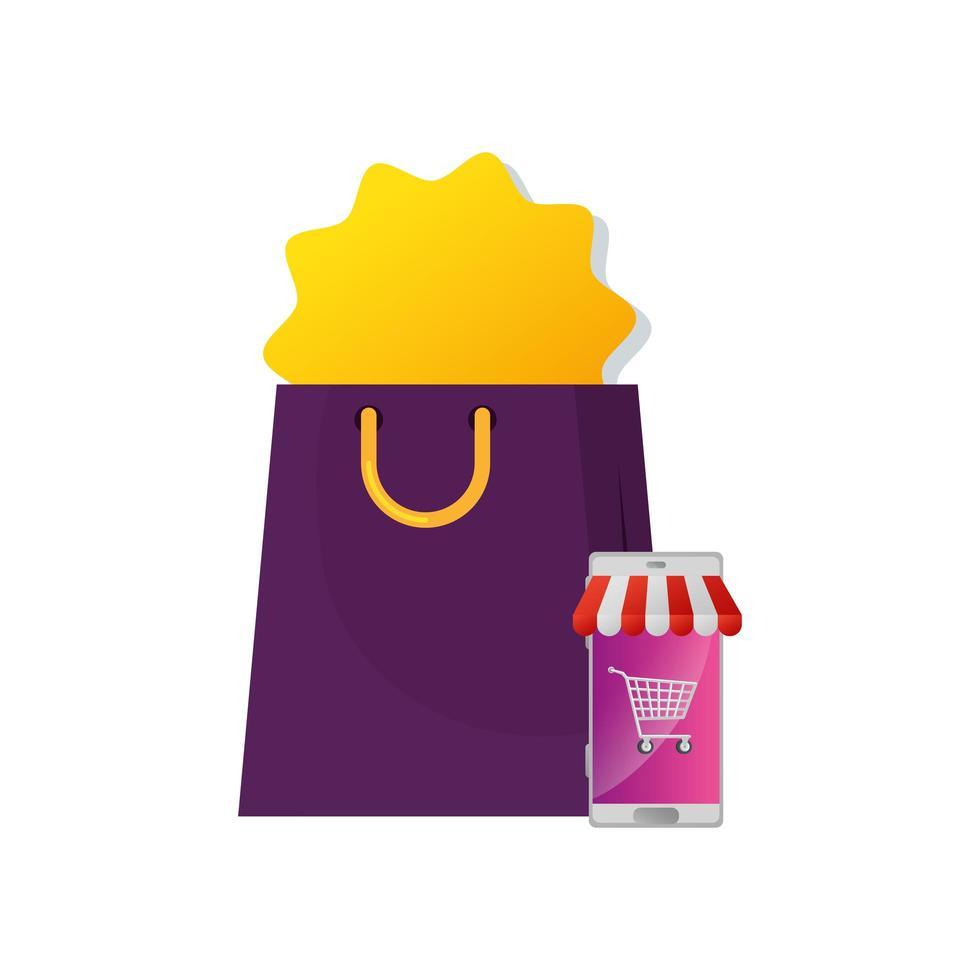 väska shopping med smartphone och parasoll vektor