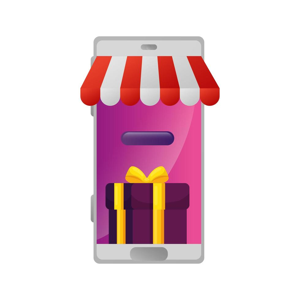 smartphone med parasollbutik och presentförpackning vektor