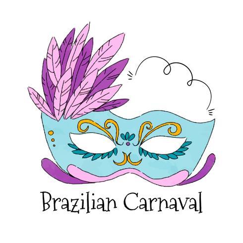 Akvarell brasiliansk mask till karnaval vektor