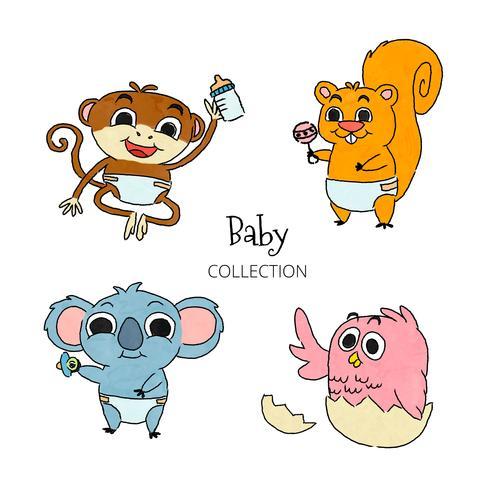 Baby djur teckenuppsättning samling vektor