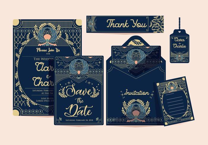 Art Deco Bröllopsinbjudan Klassisk Vektor