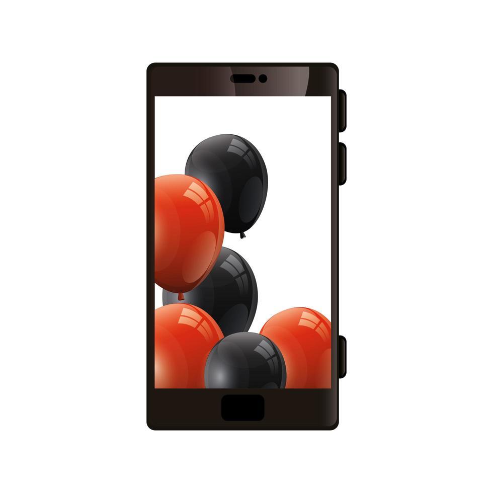 smartphone-enhet med ballonger helium vektor
