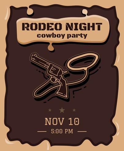 Handdragen illustration Rodeo Flyer vektor