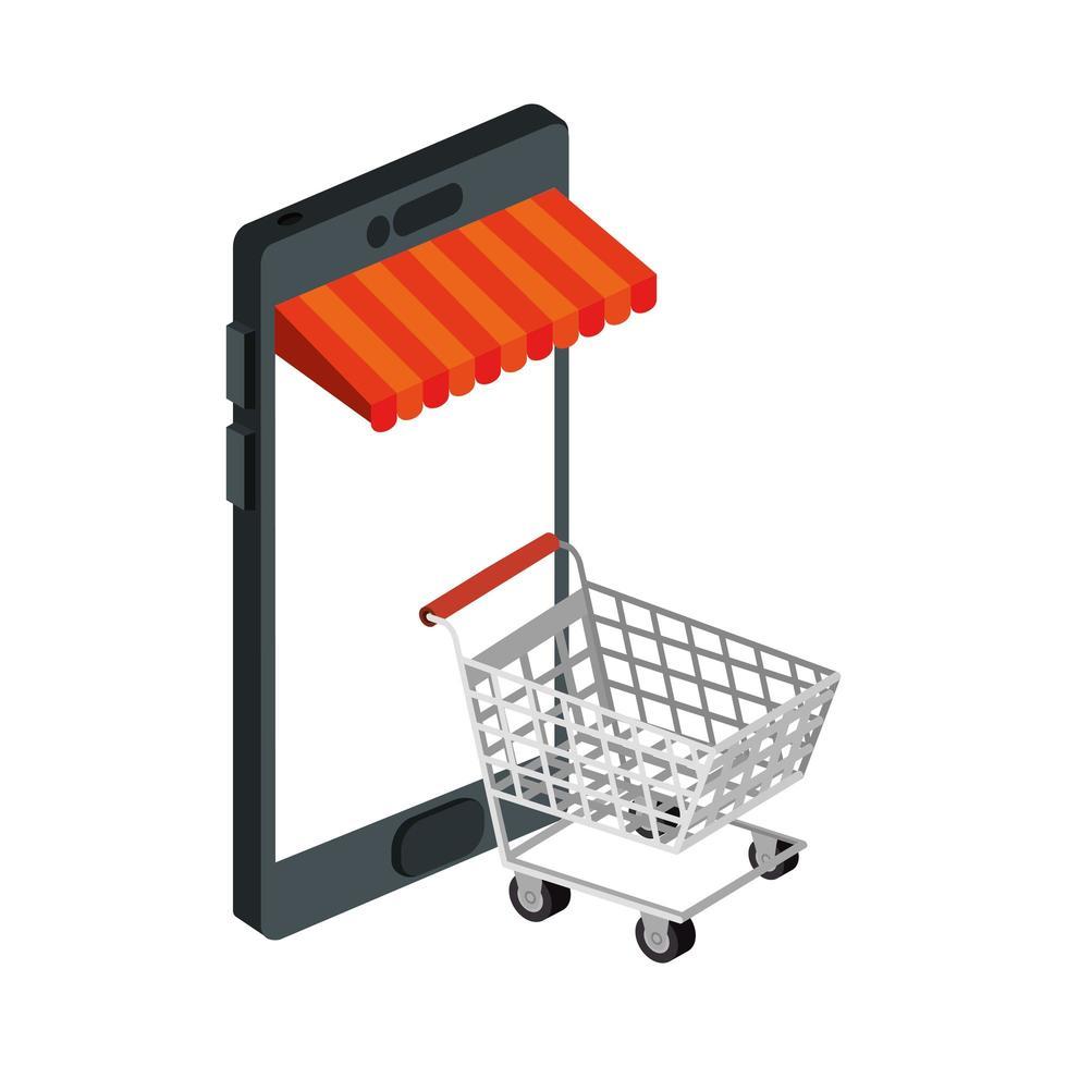 smartphone med parasoll och vagnshopping vektor