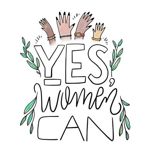 Brev om kvinnodagen med löv och kvinnors händer vektor