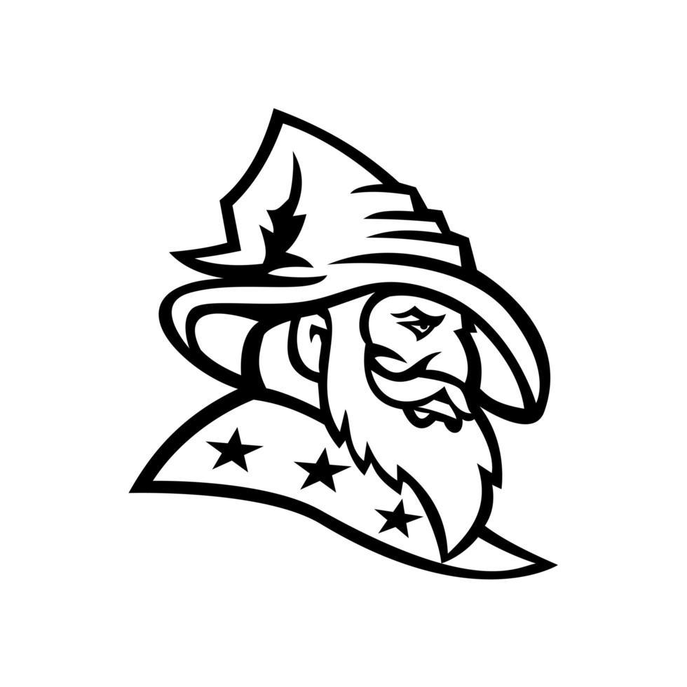 Zauberer Hexenmeister oder Zauberer mit drei Sternen Maskottchen schwarz und weiß vektor