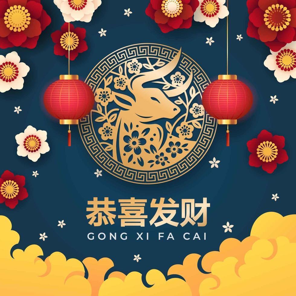 kinesiskt nyår med oxemblem symbol vektor